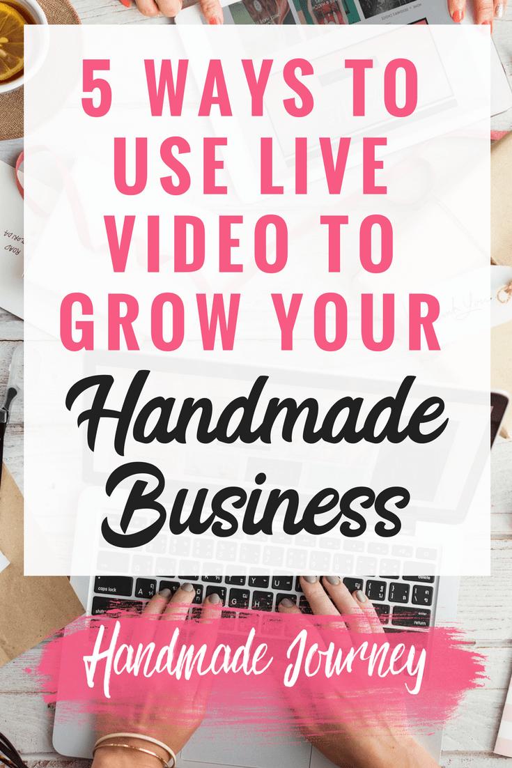 Live video is an amazing way to connect with your buyers and increase your sales to grow your handmade business. Here I'm sharing 5 of my favorite ways to use live video to get in front of new customers. Use live video to grow your Etsy shop today!